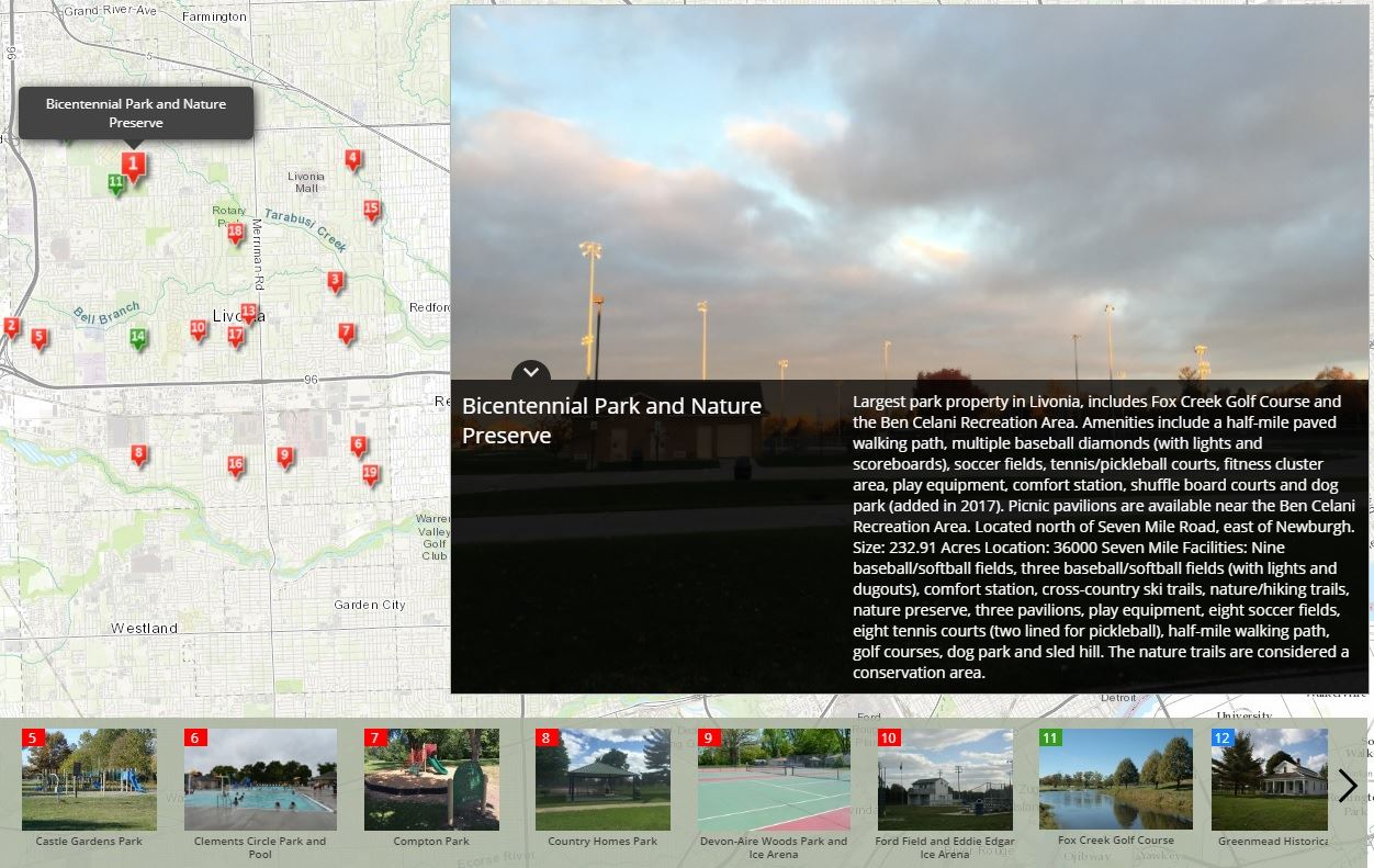 Screenshot of Parks Story map Opens in new window